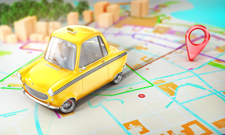 Taxi concept. Yellow taxi with pin on a city map with blur. 3d illustration 写真素材