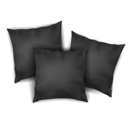 Vector. Mock Up. Black Set Pillow Square