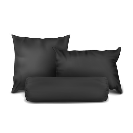 Vector. Mock Up. Black Set Pillow Square, Rectangle and Cylinder Stock Photo