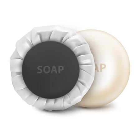 Vector. Mock Up. White round hotel Soap Vector Illustratie