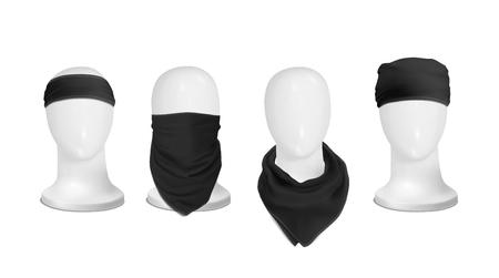 Vecteur. Maquette. Black Set Bandana (buff) pour la tête sur la tête du manekenium Banque d'images