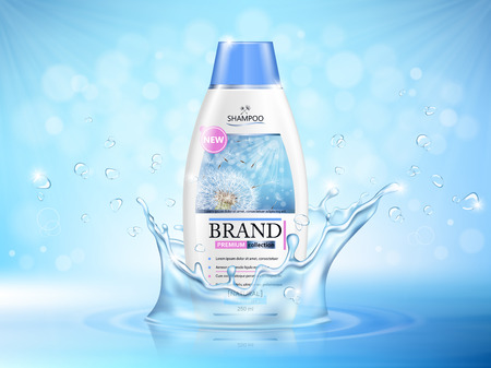 Vector illustration of a realistic shampoo bottle on a blue background with water splash