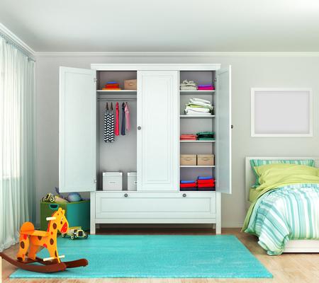 Wardrobe in the childrens room. 3d illustration