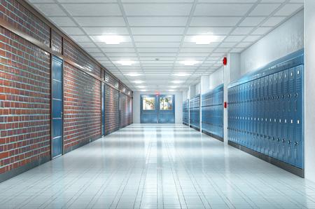 Interior del pasillo de la escuela. Ilustración 3d Foto de archivo - 108295666
