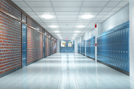 School corridor interior. 3d illustration Stock Illustration - 108295666