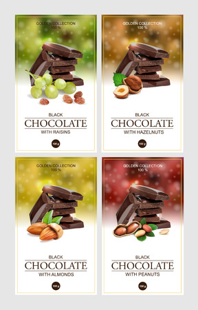 Set of vector labels for chocolate.