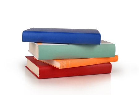 color books stack isolated Stock Photo
