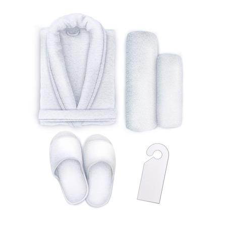 Vecteur. Maquette. Serviette Spa Set Blanc, Pantoufles, Peignoir, Accroche-porte Vecteurs