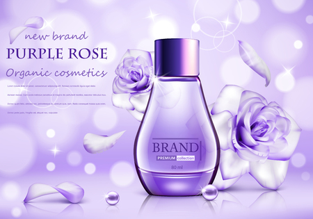 Design cosmetics product advertising with rose for catalog, magazine. Vector design of cosmetic package. Ð¡osmetics advertising poster.