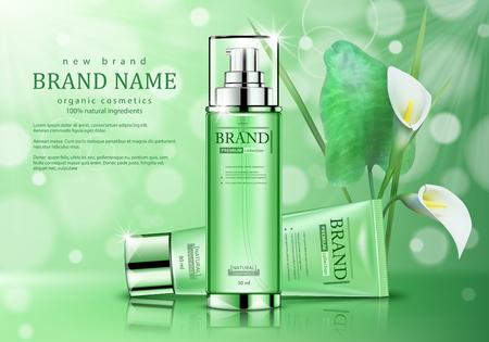 Prodotti cosmetici biologici per la cura della pelle. Manifesto pubblicitario realistico con fiori su sfondo verde. Illustrazione vettoriale