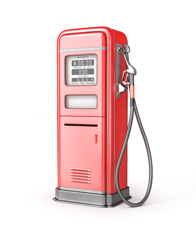 Red retro gas stsation isolated on a white. 3d illustration