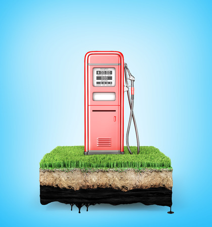 Red retro gas stsation on a piece of ground with grass. 3d illustration