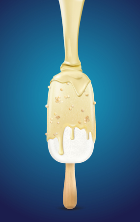 Ice cream sprinkled with white chocolate sauce. illustration on a blue background.