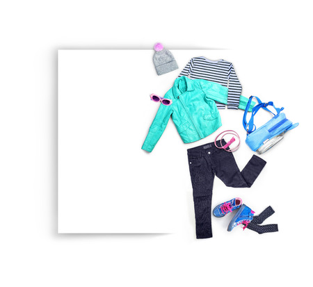 Clothes. Composition with clothes for children, isolated on white background