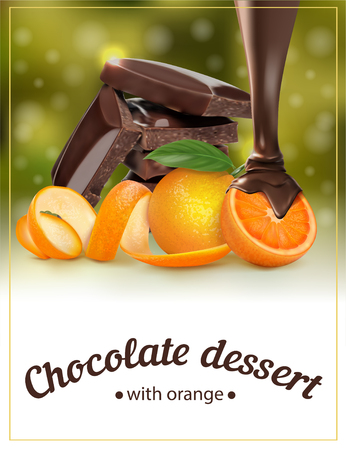 Orange chocolate dessert. Packing for dessert. Vector illustration Иллюстрация