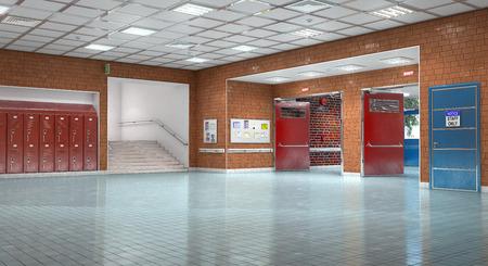 School corridor interior exit.