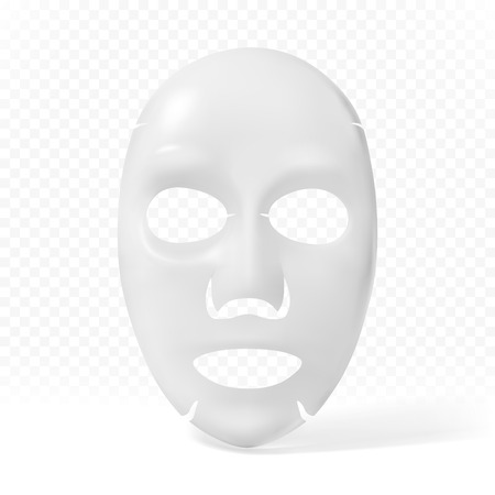 Masque facial en tissu sur fond transparent. Illustration vectorielle Vecteurs