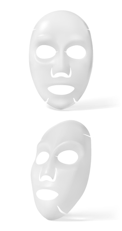 Vector realistic white facial cosmetic sheet mask on white background