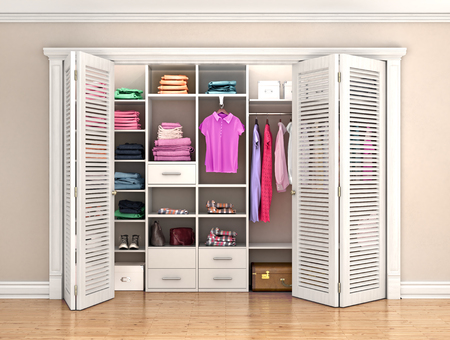 Dressing room. Folding door in the interior. 3d illustration