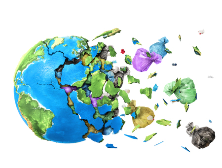 The planet shatters into shards and the garbage falls out of it isolated on white background 스톡 콘텐츠