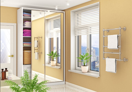 Wardrobe compartment with mirrored doors in a bright room. 3d illustration Banco de Imagens