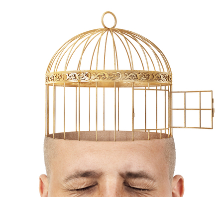 A cut of an empty head with built-in cage on a white background