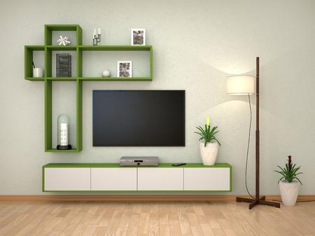 minimalist interior with a tv on the wall. 3d illustration Stockfoto