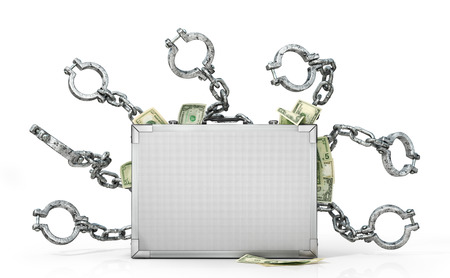 Finance concept. Metal case with money and fetters. 3d illustration