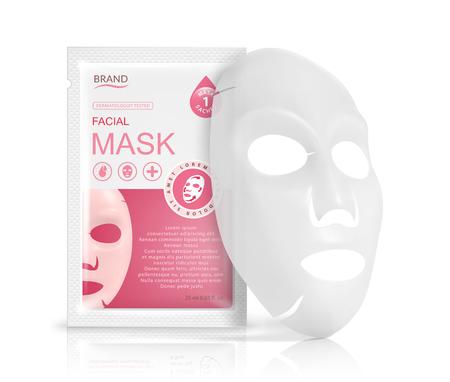 Paquet de sachet de masque facial en feuille. Illustration réaliste de vecteur isolé sur fond blanc. Modèles de conception d'emballages de produits de beauté.