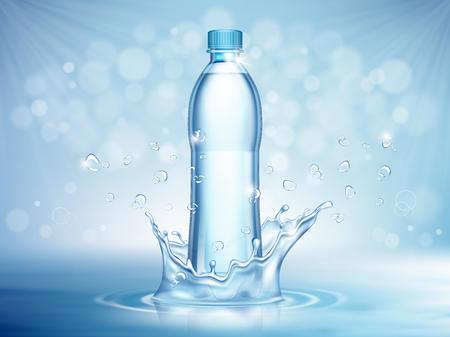 Reines Mineralwasser, Plastikflasche in der Mitte und fliegende Wassertropfenelemente auf blauem Hintergrund. Vektor-Illustration Vektorgrafik