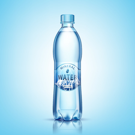 Mineral water bottle package design, with snowy mountains image on label, isolated on blue background. Vector illustration