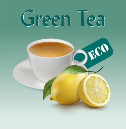 Cup of green tea with a lemon. illustration realistic vector.