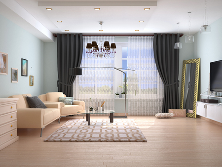 The interior of the living room. 3D illustration