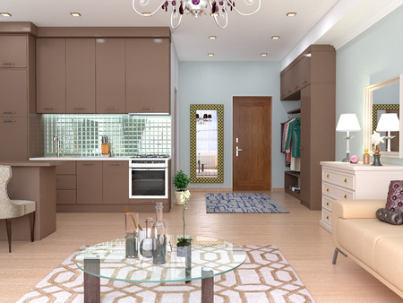 Interior studio living room with kitchen. 3D illustration