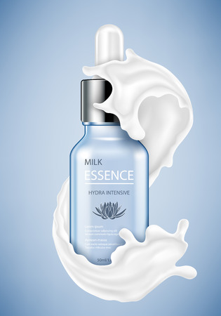 Cosmetic ads template, essence bottle with abstract splash. Vector illustration  イラスト・ベクター素材