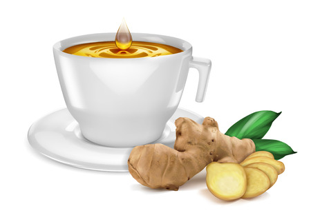 A cup of tea with a drop, with a taste of ginger. Vector illustration on white background.