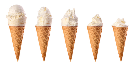 Set of bitten vanilla ice cream.