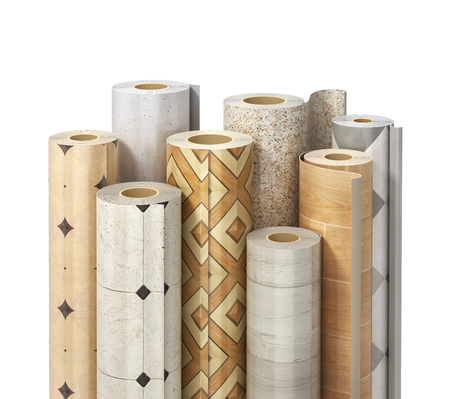 Rolls of linoleum with different texture on a white. 3d illustration