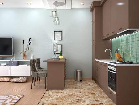 Interior studio living room with kitchen. 3D illustration