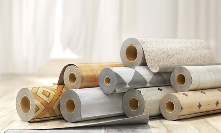 Rolls of linoleum with different texture. 3d illustration Banque d'images