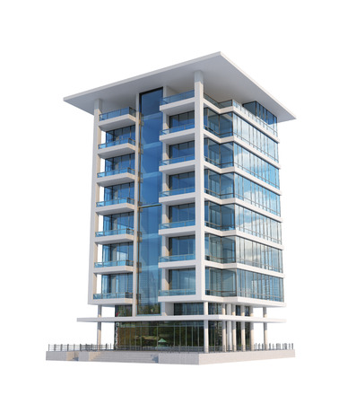 Modern building isolated on a white background. 3d illustration