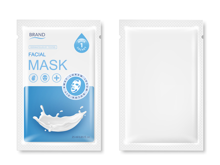 Facial sheet mask sachet package mockup. Vector realistic illustration isolated on white background. Beauty product packaging design templates.