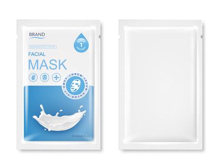 Gezichtsmasker zakje pakket mockup. Realistische vectorillustratie geïsoleerd op een witte achtergrond. Ontwerpsjablonen voor schoonheidsproducten.