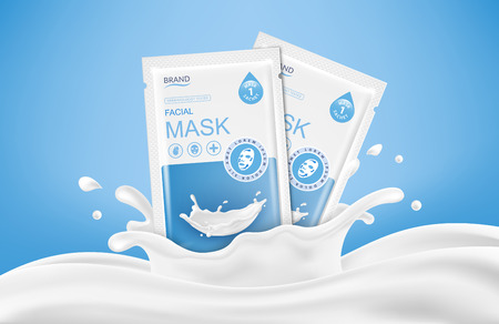 Facial sheet mask sachet package and abstract splashes. Vector realistic illustration isolated on blue background. Beauty product packaging design templates.