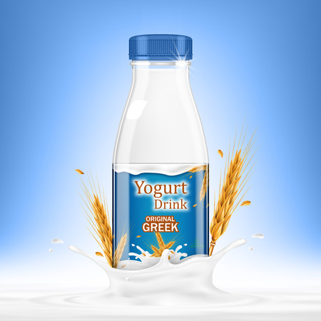 Drinking yogurt bottle with oats and splashes on blue background. Vector realistic illustration