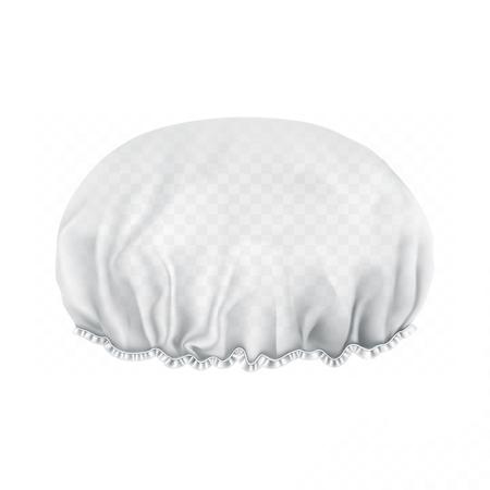 Vecteur. Maquette. Bonnet de douche blanc transparent. Face avant.