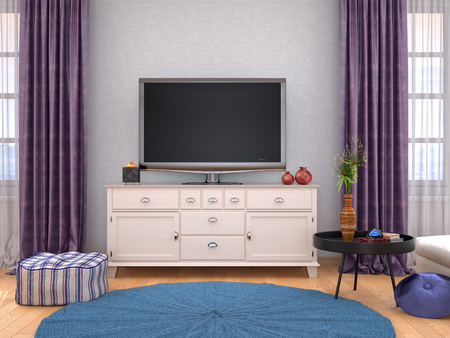 home interior with TV on the wall. 3d illustration