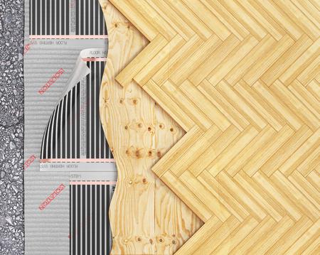 Parquet plank with floor heating. 3d illustration Stock fotó