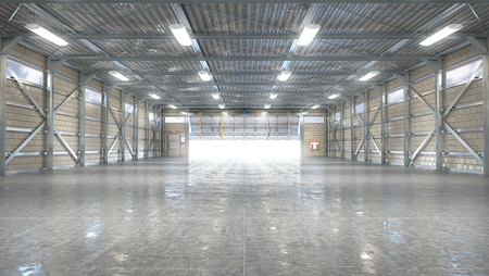Hangar interior with opened gate. 3d illustration Stockfoto