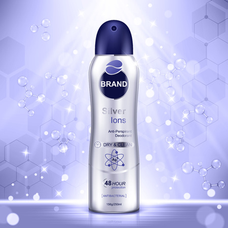 Cosmetic ads template, deodorant bottle with purple molecules and glitter elements on the background. Realistic vector illustration